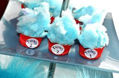 Dr. Seuss baby shower- SO CUTE! Other ideas: Use Dr. Seuss books and have guests write down as many book names as they can remember. Rhyming game with baby items. Green eggs and ham for luncheon. Write a short rhyme about mom and baby & have mom choose favorite. Play Dr. Seuss bingo. Use bright red blue and green decor. Make a hat cake using round pans and stack with write an red stripes. Swedish fish (one fish two fish red fish blue fish). Etc...
