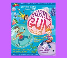 The POOF-Slinky Scientific Explorer Bubble Gum Factory Kit lets your young scientist have as much fun chewing their experiment as they had learning the science behind it. Guided by the instruct Science Toys, Science Fair, Food Science, Toy Packaging, Packaging Design, Solar System Poster, Gum Flavors, Chemistry Set, Party Pops
