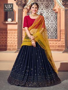 Rs4,100.00 Lehenga Dupatta, Ghagra Choli, Sari, Georgette Fabric, Bridal Lehenga Online, Navy Blue Color, Maroon Color, Indian Wedding Outfits
