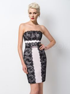 ericdress.com offers high quality  Ericdress Exquisite Strapless Sheath Lace Short Cocktail Dress Sexy Cocktail Dresses  unit price of $ 98.99.
