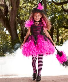 Look at this Neon Pink Feather Witch Dress - Girls on #zulily today!