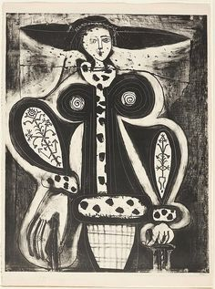 "cablestotheace: "" PICASSO, Femme au fauteuil. 1948. Lithograph, 5th state. One of six copies, intended for the artist and the printer; no edition of this state. """