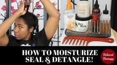 [78] How to Moisturize and Seal Transitioning Hair This video is how I moisturize and seal dry transitioning hair. I wash once a month and rely on this transitioning hair regimen to keep my relaxed hair and natural hair new growth moisturized sealed and detangled between wash days. Note: Products may change but technique remains the same. ---------------------------------------------- FEATURED PRODUCTS Wide tooth seamless combs Cantu Care for Kids Conditioning Detangler…