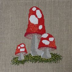 Red and White Fairy Toadstools Cross Stitch Pattern