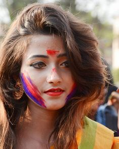 Image may contain: 1 person, closeup and outdoor Holi Pictures, Holi Images, Beautiful Girl In India, Beautiful Gif, Fashion Photography Poses, Girl Photography, Holi Girls, Holi Photo, Bridal Portrait Poses