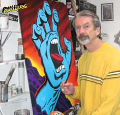 In a career beginning in the 1960s, Jim Phillips has produced magazine illustrations, rock posters and fine art paintings.  As art director and now exclusive designer for Santa Cruz Skateboards, he has created thousands of designs for skateboard, snowboard, and surfboard products.