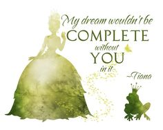 Tiana - The Princess and the Frog Watercolor Silhouette with Quote