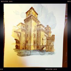 Ferrara, Castello Estense Watercolors, Ferrari, Painting, Art, Art Background, Water Colors, Painting Art, Kunst, Watercolor Paintings