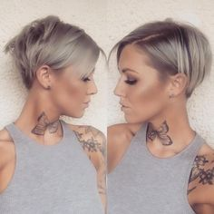 Silver Pixie with Shaved Sides