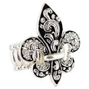 Sterling Silver Crystal Ivy Fleur de Lis Stretch Ring