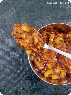 Vendhaya mangai-Mango-fenugreek pickle: A spicy and tangy mango pickLe with pronounced methi flavor. Best combo for curd rice,tastes great even with parathas. Recipe@ http://cookclickndevour.com/2014/04/vendhaya-mangaimango-fenugreek-pickle.html