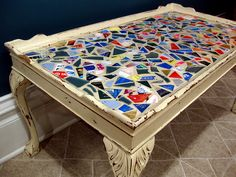 credit card mosaic table