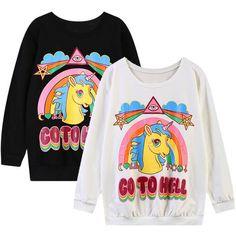 GO TO HELL Unicorn Rainbow Print Black Sweatshirt ($20) ❤ liked on Polyvore featuring tops, hoodies, sweatshirts, sweatshirt hoodies, unicorn sweatshirt, black top, long sleeve sweatshirt and sweat tops