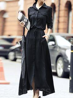Ericdress OL Black Maxi Dress Maxi Dresses