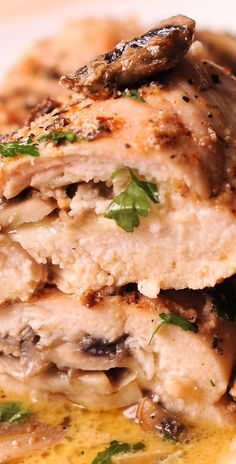 This easy stuffed chicken breast recipe is going to be a new family favorite! The provolone cheese and Parmesan add lots of flavor to this boneless chicken and the whole recipe is very quick to Meat Recipes, Whole Food Recipes, Cooking Recipes, Game Recipes, Chicken Parmesan Recipes, Chicken Meals, Roasted Chicken, Baked Chicken, Gourmet