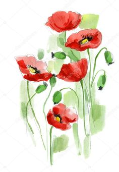 Floral summer design with hand-painted abstract flowers Watercolor Flowers Tutorial, Watercolor Poppies, Watercolor Cards, Watercolor Paintings, Poppies Painting, Red Poppies, Watercolors, Watercolor Tattoo, Arte Do Galo