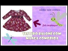 VESTIDO BALONÊ DE MANGA COMPRIDA - Modelagem - YouTube
