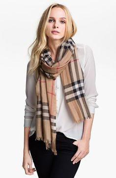 Burberry Giant Check Print Scarf Womens Ivory by: Burberry @Nordstrom