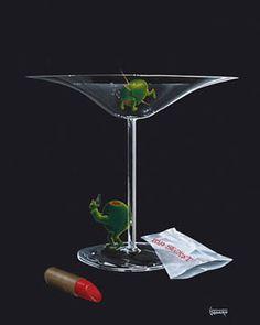 Artist Michael Godard Limited Edition Giclee on Canvas Godard Art, Black Canvas Art, Duck Art, Angel And Devil, Wine Art, Love Rose, Art World, Pop Art, Architecture Design