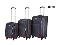 CH-201 Grey/Red 1200 Denier! 3 PC SET. also available in Navy/Grey & Black/Grey #travelware #luggage #travel #vacation #red #grey #3 #chariot #style #fashion #fashionista #durable #4wheels #ChariotTravelware