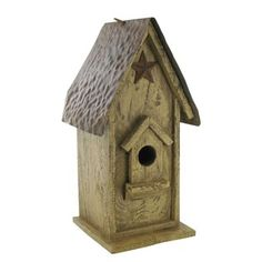 This Wood Rustic Birdhouse with Star & Hammered Metal Roof will add lots of rustic charm to home decor.
