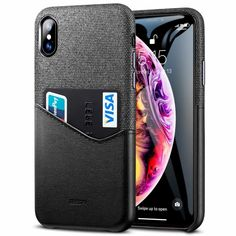 Esr Metro Wallet Iphone X Case Fabric Pu Leather Card Slot, Black Black Leather Case, Pu Leather, Iphone Parts, Telephone Iphone, Smartphone, Accessoires Iphone, Coque Iphone, Cell Phone Cases, Soft Fabrics
