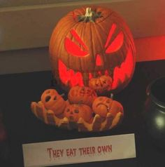 """they eat their own"" with mini pumpkins"