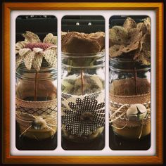 Mason Jar Craft with Burlap Flowers! Diy Arts And Crafts, Diy Craft Projects, Crafts To Make, Easy Crafts, Recycle Crafts, Craft Ideas, Decorating Ideas, Mason Jar Projects, Mason Jar Crafts