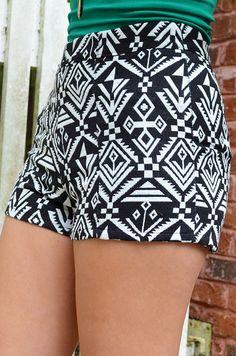 Amazing In Aztec Shorts: Black/White