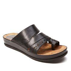PureSole™ Caroline Leather Toe-Loop Slide Sandal - Black
