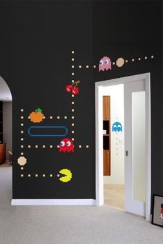Awesome idea for a wall in a kids room or game room!! Love it!!