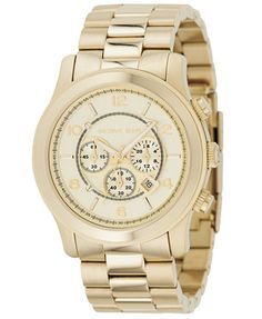 Michael Kors Men's Chronograph Runway Gold-Tone Stainless Steel Bracelet Watch 44mm MK8077 | macys.com