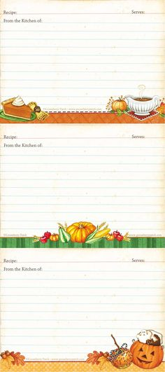 Harvest Recipe Cards | Free Printables - Gooseberry Patch