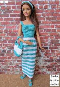 Irresistible Crochet a Doll Ideas. Radiant Crochet a Doll Ideas. Barbie Clothes Patterns, Crochet Barbie Clothes, Doll Clothes Barbie, Clothing Patterns, Barbie Doll, Crochet Barbie Patterns, Crochet Doll Dress, Dress Barbie, Accessoires Barbie