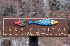 This fun property sign features sculpted add on fish together with incise carved and gilded lettering and border. Beach House Signs, Home Signs, Property Signs, Fish Artwork, Fishing Signs, Pub Signs, Street Signs, Vintage Signs, Craft Gifts