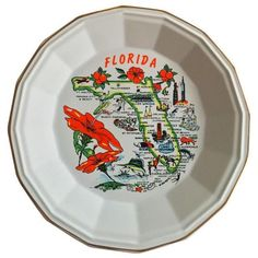 Sunshine State Souvenir Plate ($75) ❤ liked on Polyvore featuring home, kitchen & dining and decorative plates
