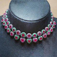 Intriguing necklace by De Grisogono, rubies, emeralds, diamonds