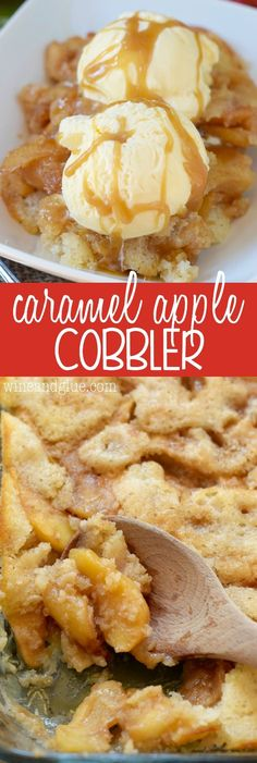 Entertaining & party dessert recipes for Fall - This Caramel Apple Cobbler is the perfect combination of delicious tart apples coated in cinnamon and smooth homemade caramel, all in an amazing warm from scratch cobbler! Desert Recipes, Fall Recipes, Sweet Recipes, Lunch Recipes, Breakfast Recipes, Dinner Recipes, Caramel Apple Cobbler Recipe, Apple Cobbler Easy, Caramel Apple Crumble