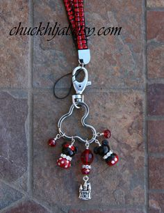 Red Rhinestone Bling Lanyard Mickey Mouse Style Disney  Badge Keychain ID Badge Holder