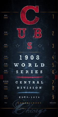 Chicago Cubs: MLB Eye Chart -  Historic Seasons - Midnight Blue - Perfect Valentines and Birthday Gift - Unframed Print on Etsy, $26.50