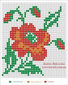 Схема плетения мака ручным или станочным ткачеством | biser.info - всё о бисере и бисерном творчестве