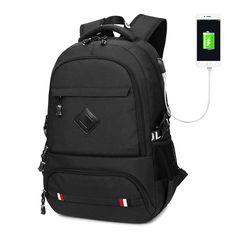Backpack Men Laptop Canvas Men's Backpacks Backpack USB Mochila Masculina Escolar Student School Backpack For Teenagers 15 Inch