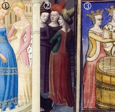 Image 1 above, from Belles Heures de Duc du Berry, 1408-09, shows my primary inspiration. The top of the gown looks almost like a yoke- wide at the shoulders, then cutting rather dramatically inward. The side opening is also pretty low, showing a fairly good amount of the hip below.    It is very much like Image 3, From Tristan de Léonoi, first quarter of the 15th century, though the later clearly depicts a queen and is probably one of the allegorical versions. This one does not have as deep…
