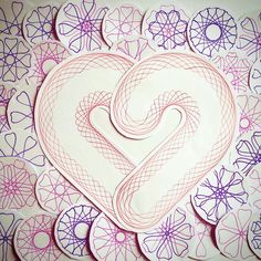 The Spirograph is a popular children's toy, but there are several different ways to incorporate these designs into more sophisticated craft projects. Spirograph, Happy Valentines Day, My Childhood, Growing Up, Craft Projects, Collage, Symbols, Letters, Pure Products