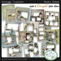 Vintage Traveler Photo Album - make it simple photo album-digital scrapbooking