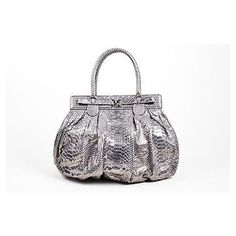 "Pre-Owned Zagliani $3500 Metallic Silver Python Leather """"Puffy""""Hobo... ($1,605) ❤ liked on Polyvore featuring bags, handbags, shoulder bags, multi, man bag, leather handbags, shoulder handbags, leather hobo shoulder bags and white leather handbags"