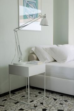 white baby nightstand with wooden top combined with white bedside table lamp and white bed