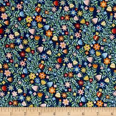 Crafty Cats Flowers Blue from @fabricdotcom  From the Henley Studio for Makower UK for Andover, this cotton print collection features whimsical cat themed prints that are perfect for quilting, apparel, and home decor accents. Colors include shades of green, blue, red, orange, yellow, pink, and white.