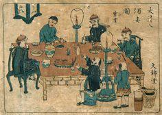 大清人酒妾圖 絵 師:不明 刊行年:不明 長崎絵。清国人は弁髪。中国風の卓の傍のこんろに煮物鍋がかけてある