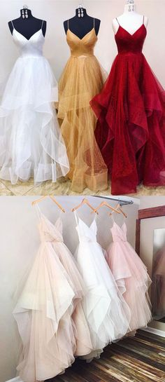 Elegant spaghetti Straps White/Dark Beige/Burgundy Organza Prom Dresses for Women - Thumbnail 3